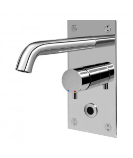 Electronic wash basin tap with mixer button