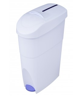 Pedal operated sanitary napkin container